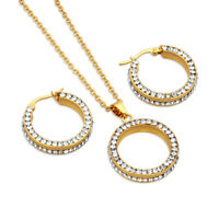 Rhinestones Stainless Steel Jewelry Sets Women Gold Plated Ear Earrings Necklace