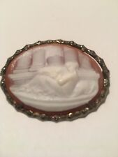 ANTIQUE CAMEO BROCHURE STERLING SILVER UNIQUE HAND MADE MUST SEE