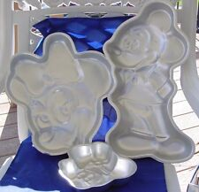 Wilton Mickey Mouse & Minnie Mouse Cake Pans 3 Pans Full Body & Faces