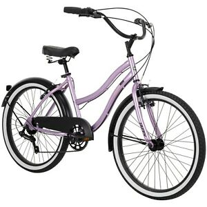 "24"" Girl's Lockland Cruiser Bike Perfect Fit Frame Comfort Ride, Mauve Purple"