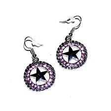 EARRINGS ST Wires Western Style Dangle Large Pink Rhinestones TEXAS STAR CONCHOS