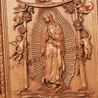 """26"""" Our Lady of Guadalupe 3D Art Orthodox Wood Carved Icon -  Gift."""