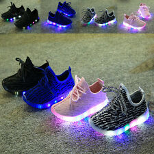 LED Light Up Kids Child Boys Girls Trainers Knitted Sneakers Luminous Shoes Size