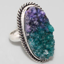 RING SILVER PURE WITH SOLID STONES AGATE AND DRUZY SIZE 19