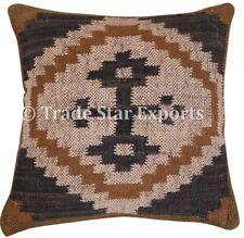 Handmade Indian Kilim Jute Decorative Cushion Cover 18x18 Boho Throw Pillowcases