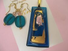 FIONA STUDIO  gold luster beautiful Fused dichroic glass Pendant Earring  Set