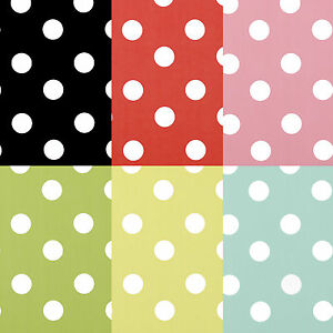 Polka Dot Spot PVC Wipeclean Vinyl Tablecloth All Sizes & Colour Black Red Green
