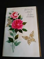 Vintage Rust Craft Greeting Card Happy Birthday Aunt Butterfly Dated 1965