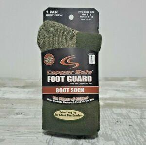 Copper Cole Foot Guard Boot Crew Socks Anti-Fungal & Bacteria Men 3-9 Woman 4-10