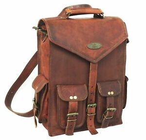 Large Vintage artisan Style Real Genuine Leather Bag Rucksack Backpack  Brown