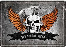 Blechpostkarte - Old School Biker Skull