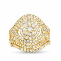 Luxury White Sapphire Yellow Gold Filled Wedding Ring Women's Jewelry Size 5-10