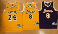 #24 #8 Kobe Bryant Los Angeles Lakers Jersey Purple/Gold S-2XL Men Stitched NWT