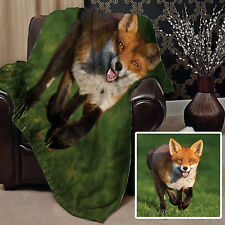 Large Warm Sofa Fleece Throw Cute Fox In A Field Design Blanket Great Gift Idea