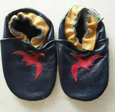 Augusta Baby Soft sole moccasin shoes Size 18-24 Months Pteradactyl dino Blue