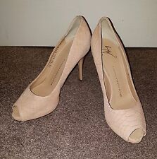 Giuseppe Nude Suede Heels Shoes Women Used Pre Owned Ladies Size 7.5 40.5 Party