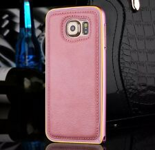For Samsung Galaxy S6 Luxury Metal Bumper Frame Leather Back Case Cover Pink