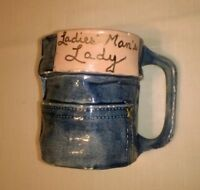 "Handmade Ceramic Mug ""Ladies' Man's Lady"" Pants Lover Art Pottery 1988 Signed"