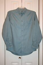 Men's Joseph A. Banks Blue Herringbone Long Sleeve Dress Shirt-Size M-EUC