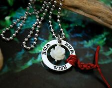 Good Karma Purity White Rose WISH Red String Medallion Earrings Circle