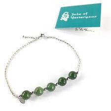 Jade of Yesteryear Bracelet Green Jade Beads Adjustable Sterling Silver .925