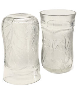 """Vintage Set Of 2 Indiana Glass Cooler Tumblers Clear 5-1/2"""" Pebble Cabbage Leaf"""