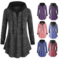 Womens Casual Plus Space dyeing Long Sleeve Hooded Sweatshirt Tunic Tops Blouse