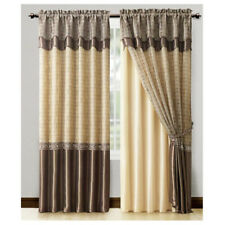 "Window Curtain Set Double Layer Panel w/ Double Layer Valance 55""x90"" (Brown)"