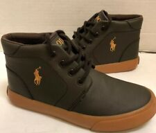 Ralph Lauren Polo Collin Kids Boys Brown/Army Green Low Boot  Size 1
