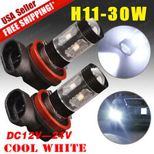 2X NEW White High Power 30W H11 LED Car Fog Driving DRL Lights Projector 12V-24V
