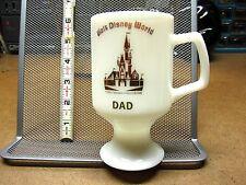 """WALT DISNEY WORLD vtg white glass Resort cup w/ stem """"DAD"""" gold lettering OG"""