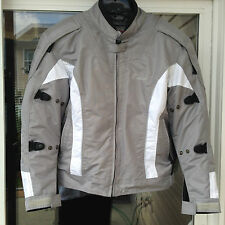 Womens Cortech LRX Series 2 Motorcycle Jacket size med Silver and White