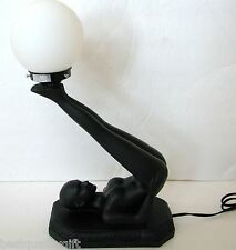 "NEW 21""-BLACK RESIN NUDE NAKED POSING WOMAN TORCH GLASS GLOBE LIGHT,TABLE LAMP"