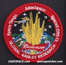 BUDWEISER GLOBAL BARLEY RESEARCH SPACEX NASA SPX-13 CRS-13 ISS Mission PATCH