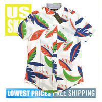 Tommy Hilfiger Men's NWT Color Leaves on White Button D Short Sleeve Shirt XL