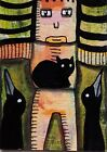 ACEO ORIGINAL Painting~CAT~2 CROWS~MOTHER NATURE~FIGURATIVE~OUTSIDER FOLK~SMOODY
