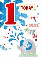Happy 1st Birthday Card for A Boy - 7.5 x 5.25 Inches - Age 1 Boy