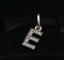 """NEW Authentic Pandora Silver Clear CZ Letter """"E"""" Dangle Charm 791317CZ"""
