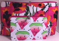 Clinique by Vera Neumann Pink Flowers & Watermelon Cosmetic Makeup Bag Set of 2