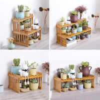 Succulent Cactus Plant Flower Pots Bamboo Shelf Display Storage Rack Garden