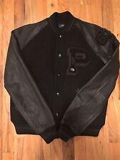 Polo Ralph Lauren Black Wool Leather Varsity Jacket