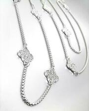 """NEW 18kt White Gold Plated 8 PCS Pave Crystals Clover Charms 34"""" Long Necklace"""