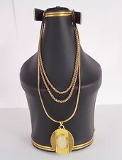 Amber Rose Dull Gold 3 Tier Necklace Long Chain Jewellery with Pendant