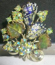 """Vtg Austria AB Satin Glass Gold Leaf Pin Brooch Foil Open Heart Back 27g 2"""""""
