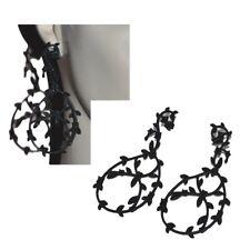 Grandes boucles d'oreilles fantaisies métal noir et strass bijou earring