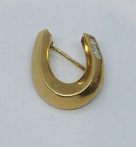 Vintage 18k Yellow Gold & Diamond Small Horseshoe Pin
