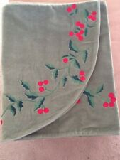 Fireplace Mantel Christmas Scarf Green With Red Berries On Velour