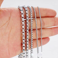 New 2mm Men's Chain Silver Tone Stainless Steel Box Link Necklace 20inch Gifts