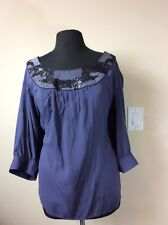 Motto Purple Blouse With Sequin And Metallic Embellishment, Size 3X