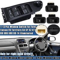 Main Window Mirror & 3 Single Switches For Ford Falcon FG Territory Illuminated